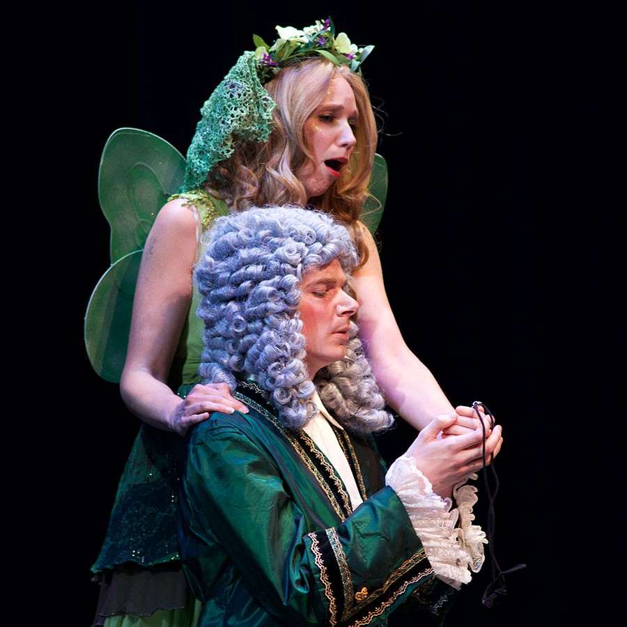 "Catrin Rowenna Davies as the fairy Iolanthe and Joshua Hughes as the Lord Chancellor in ""Iolanthe."""